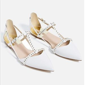 Zara studded point toe strappy d'orsay flats